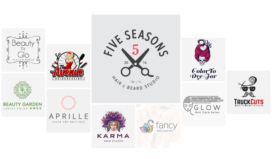 collage of different salon logos