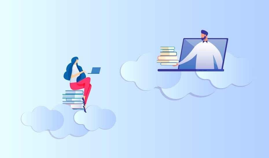 illustration Online Learning vs. traditionelles Lernen an Unis