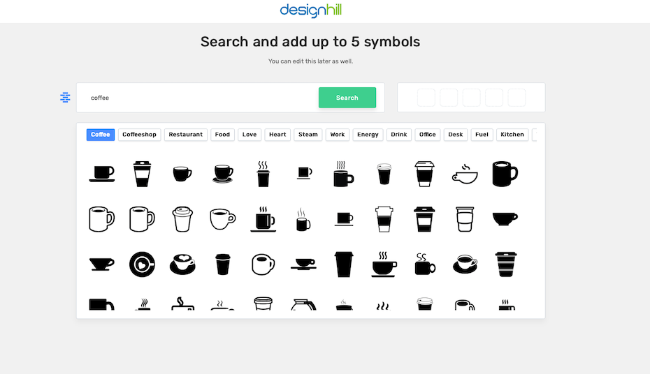 A screenshot of designhill's logo maker icons