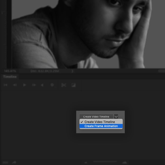 A screenshot of the Photoshop interface highlighting how to create a frame animation
