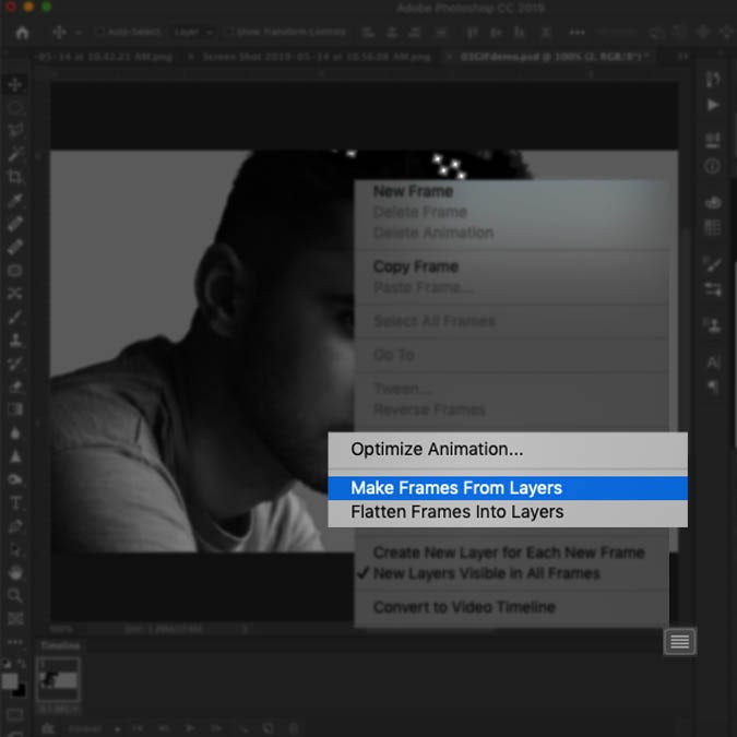 A screenshot of the Photoshop interface highlighting how to make animation frames from layers