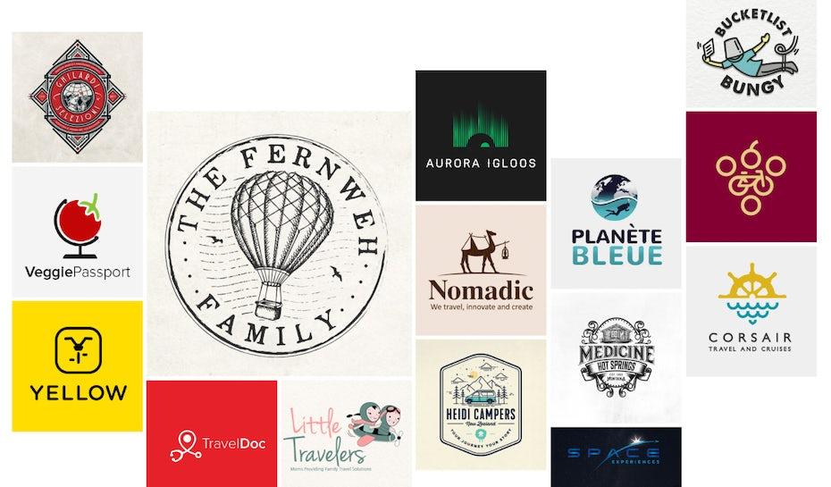 Collage de différents logos sur le thème du voyage