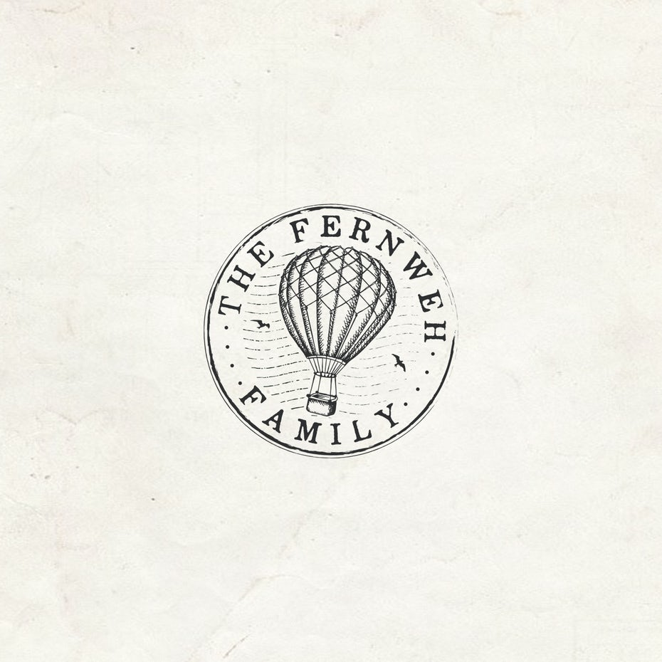 round image of a letterpress-style hot air balloon