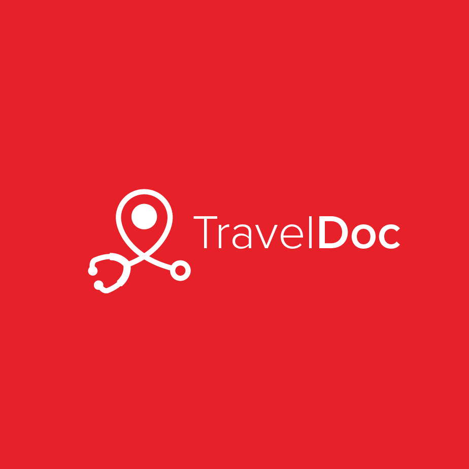 red background with white negative space stethoscope