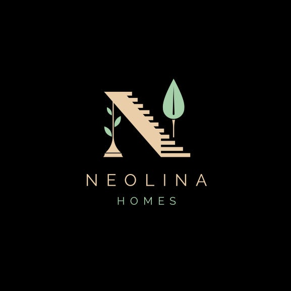 "Letter N comprised of a staircase, a tree and a column with the text ""Neolina Homes"""