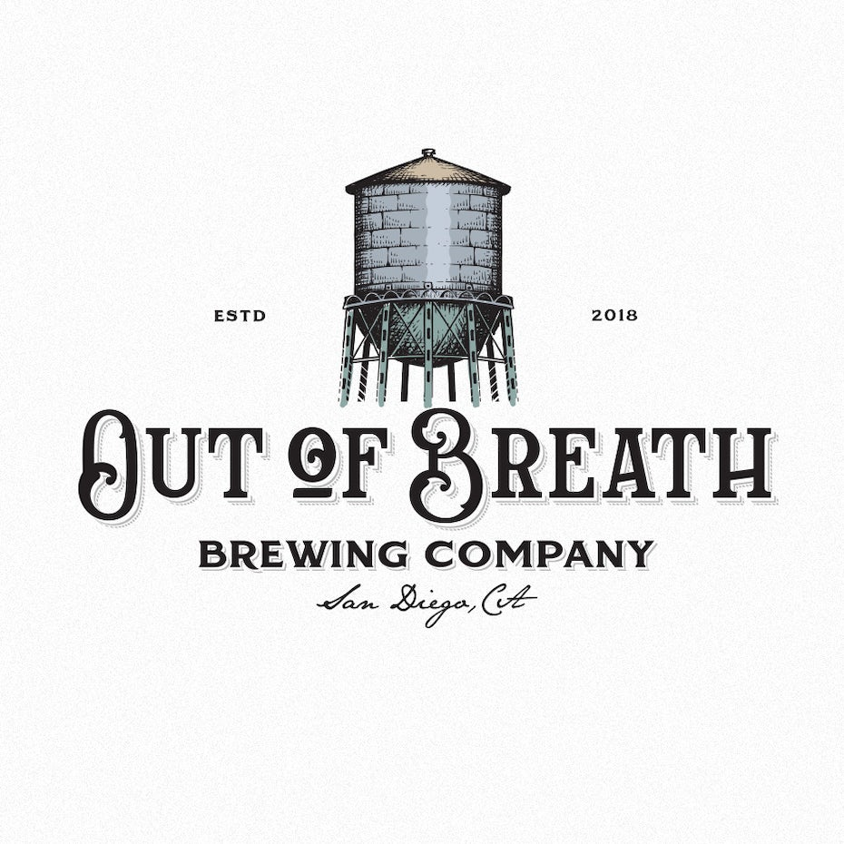 vintage-inspired, hand-drawn beer logo design with water tower