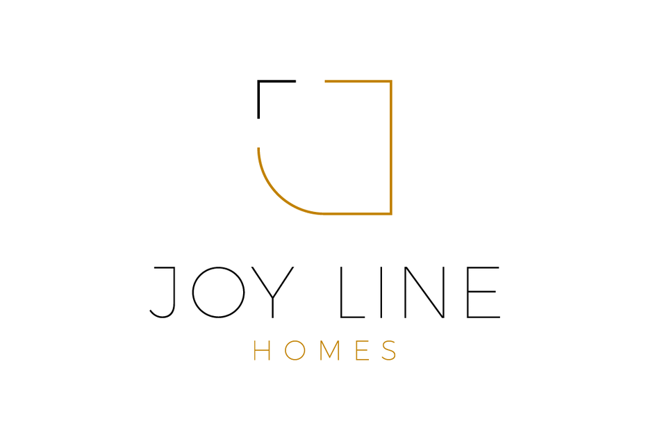 "minimalist open-sided shape with the text ""Joy Line Homes"""