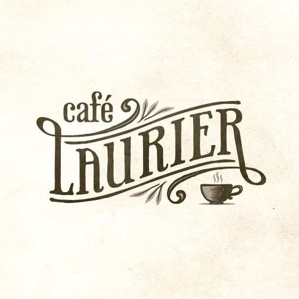 Hand-lettered logo design for a French cafe
