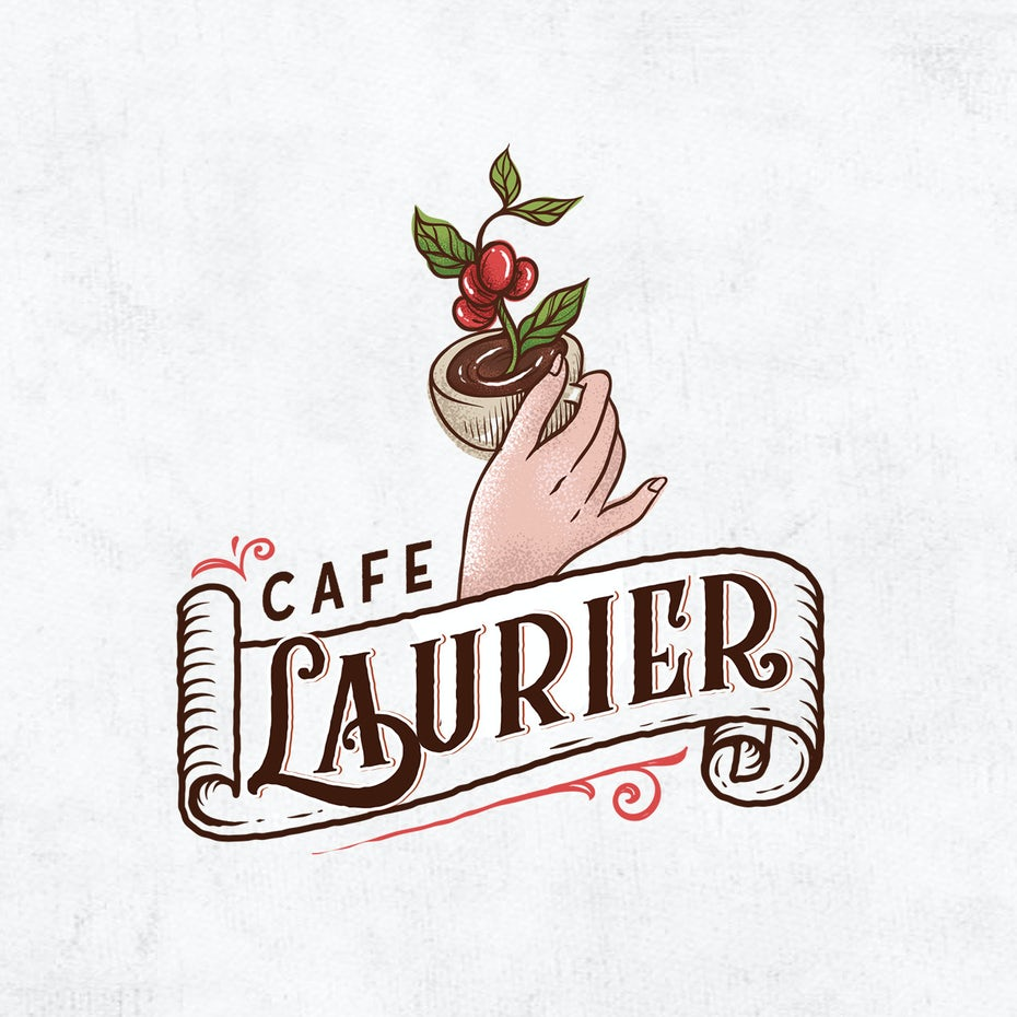 Illustrated logo design for a French cafe
