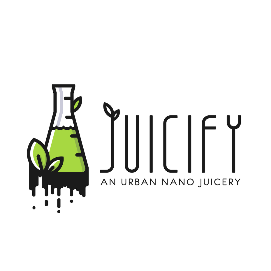 modern, line art juice logo design with beaker and leaves