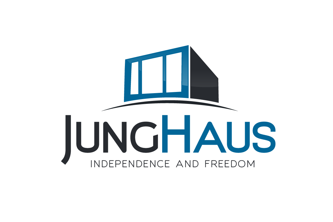 "square, modern house with the text ""JungHaus Independence and Freedom"""