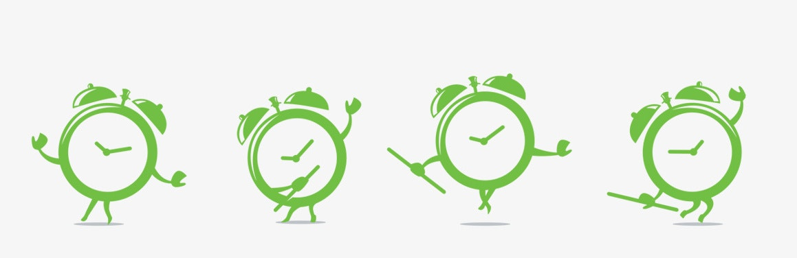 Mascot logo designs of dancing clocks