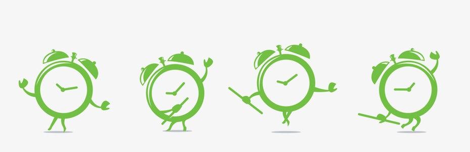 Maskottchen-Logoentwürfe von tanzenden Uhren