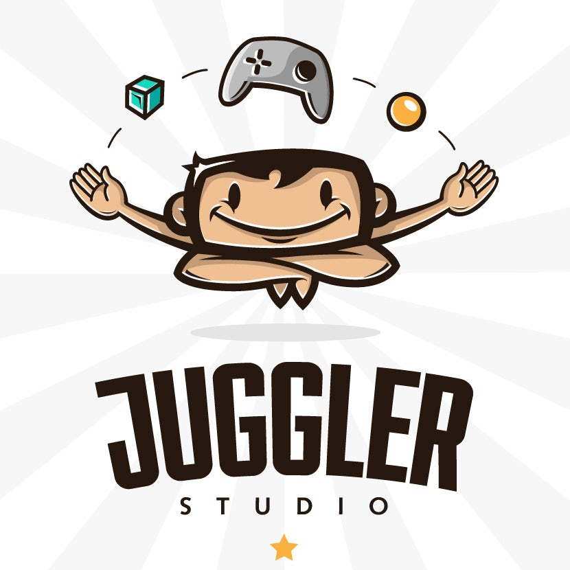 A humorous character-driven logo for a videogame developer