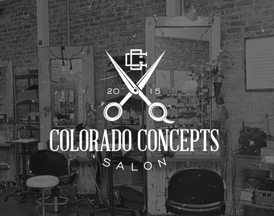 vintage salon logo design with scissors