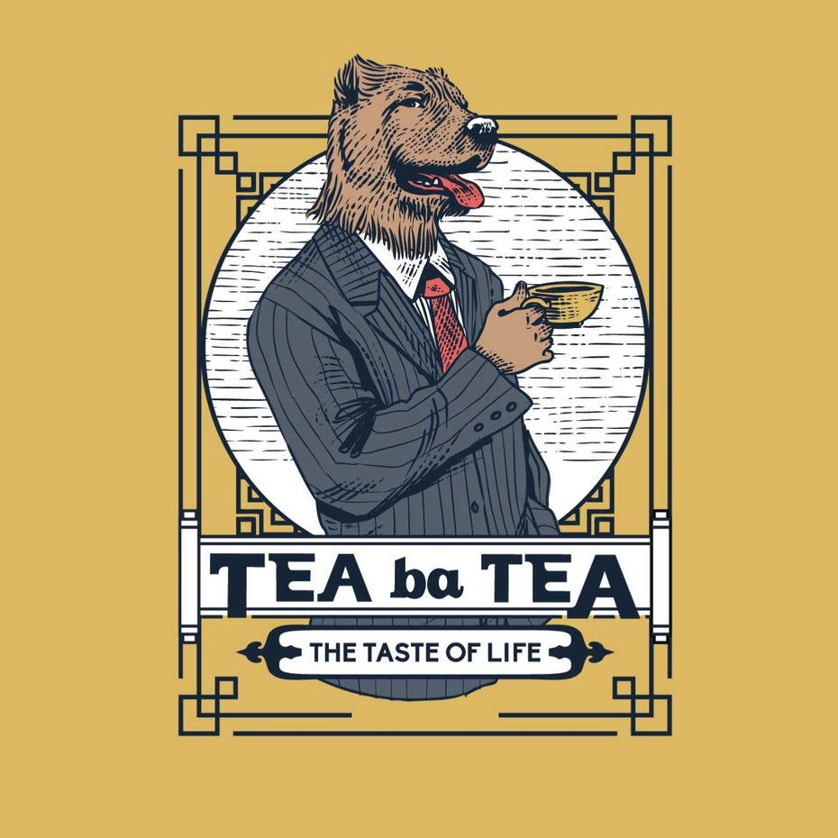dog drinking tea logo