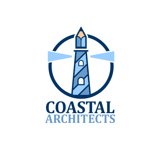 "blue lighthouse with a pencil at the top and the text ""Coastal Architects"""