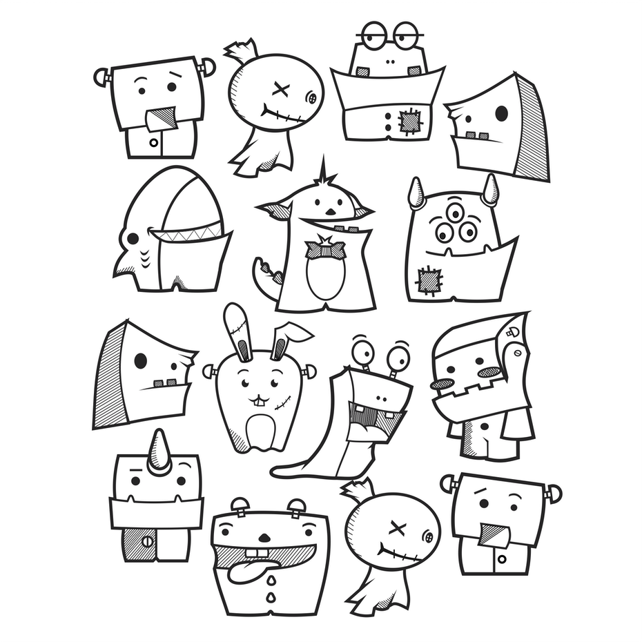 black and white drawing featuring cute little monsters