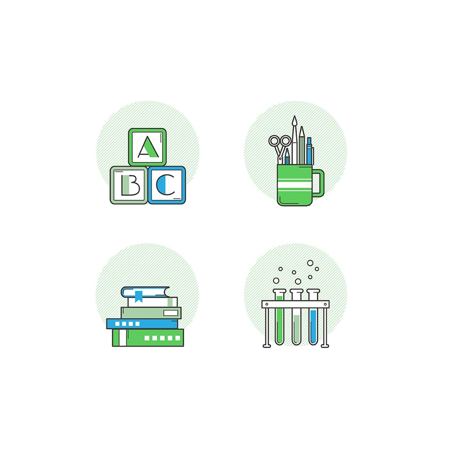 Flat design icon set of school supplies