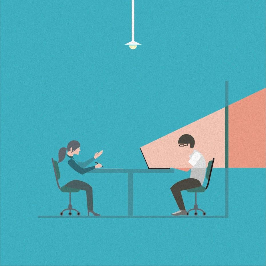 Eine Illustration von zwei Personen, die in einem Vorstellungsgespräch an einem Tisch sitzen