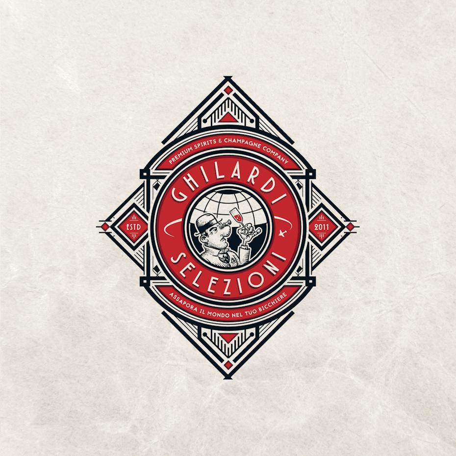 complex geometric red and black diamond-shaped logo
