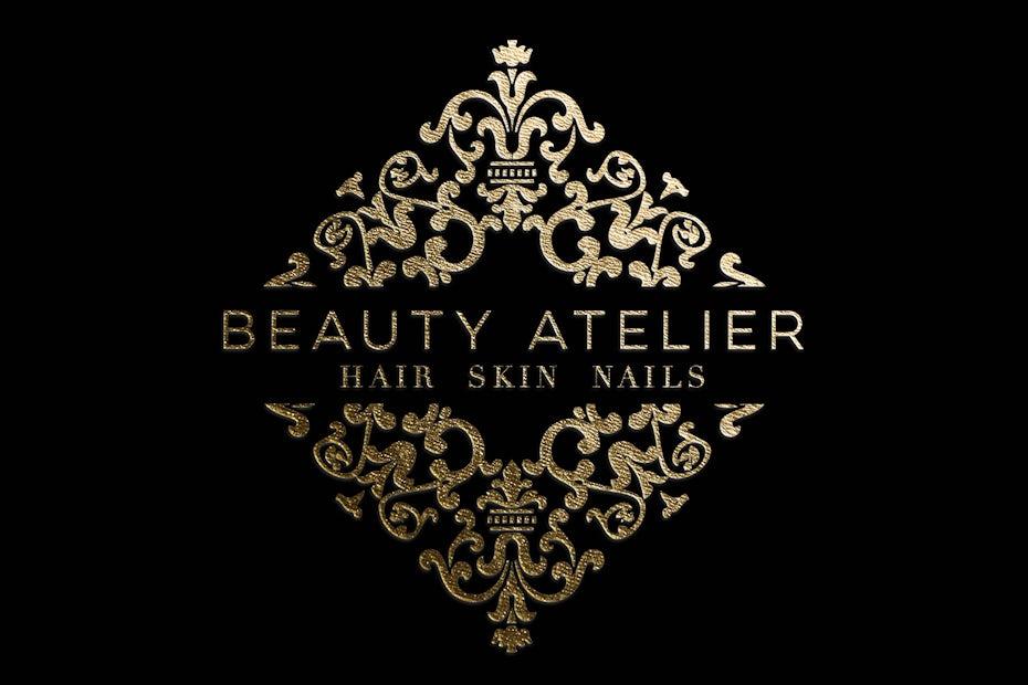 elegant intricate gold salon logo