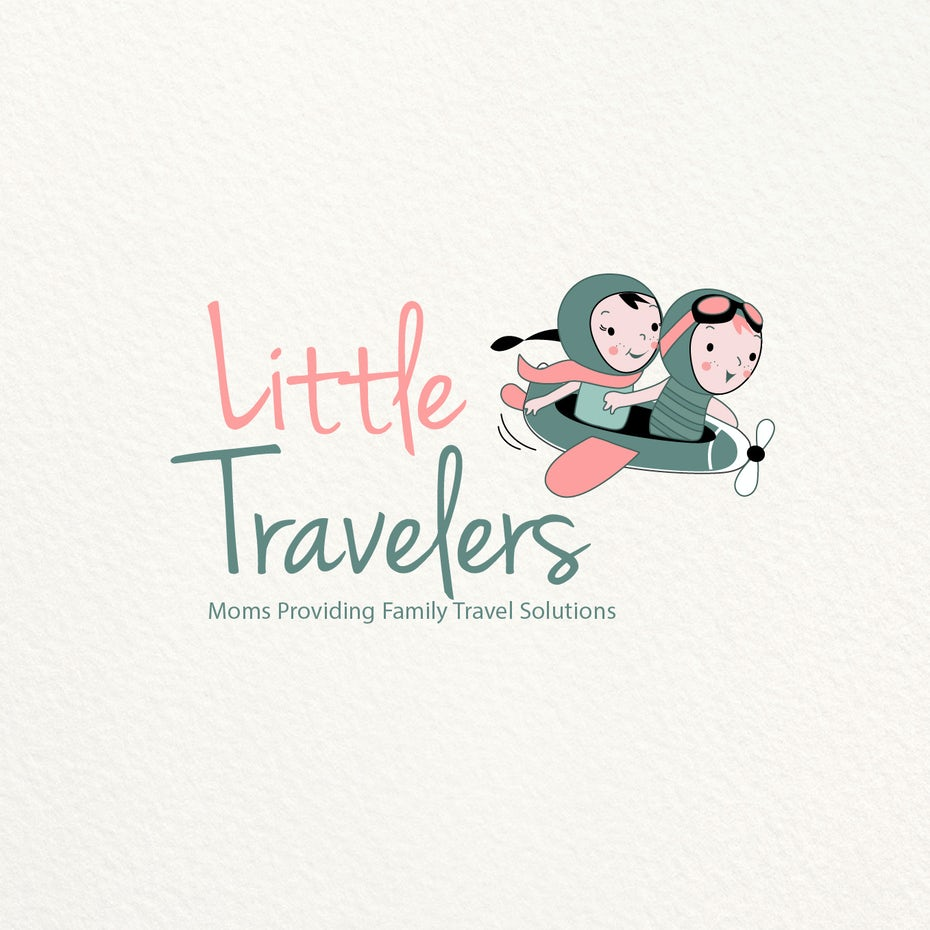 drawing of two toddlers, one boy and one girl, wearing vintage aviator gear and riding in an old-fashioned airplane