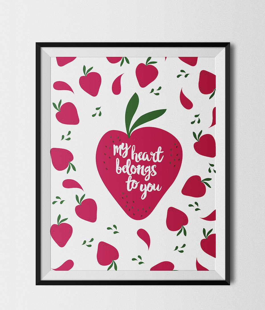 affiche coeur fraise