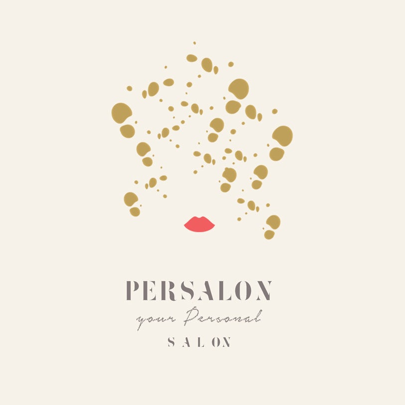 playful logo with illustrated lips and dots