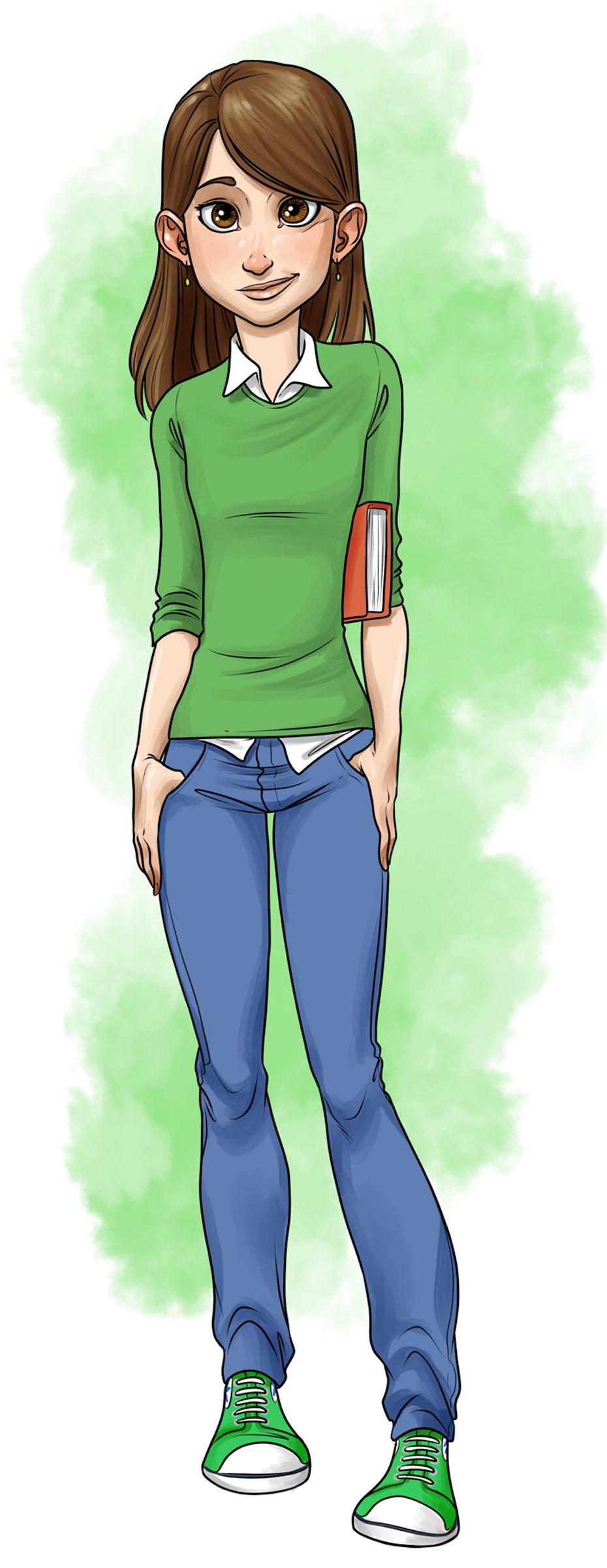Figurenillustrationsdesign einer Schülerin mit einem Buch