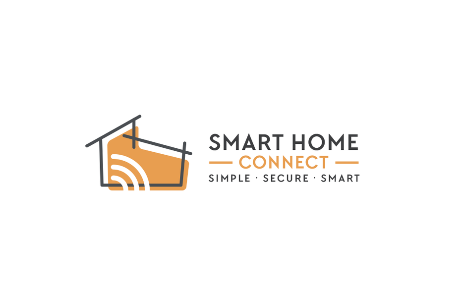 "outline of a split-level house against an orange background, accented with a wifi signal image and the text ""Smart Home Connect"""