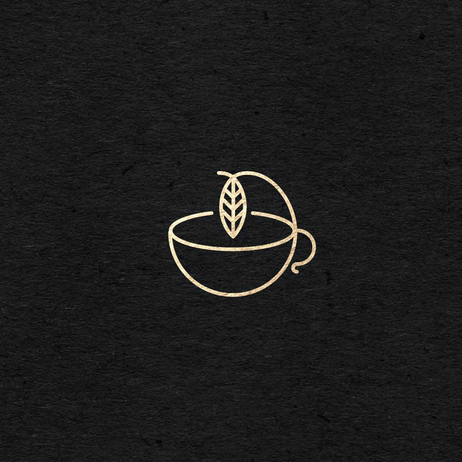 tea leaf in cup minimal logo