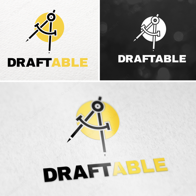 "image of a drafting compass against a yellow circle with the text ""Draftable"""