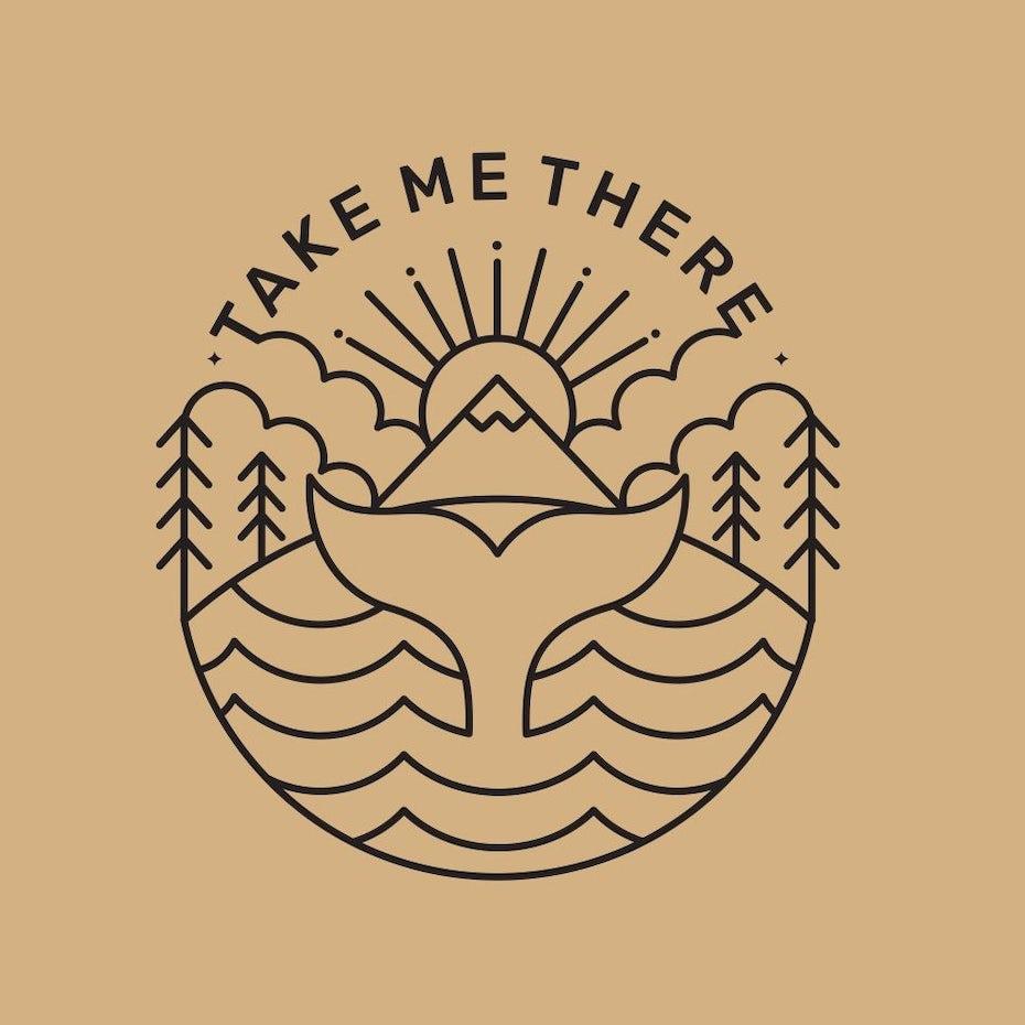 Un logo inspiré du voyage avec des arbres, un soleil et une queue de poisson