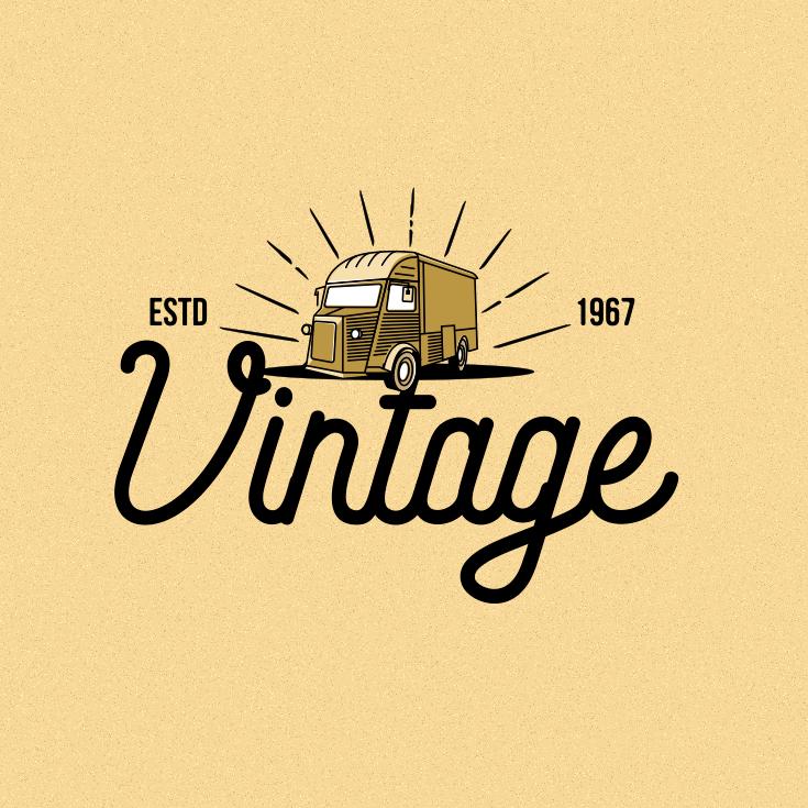 vintage truck logo design