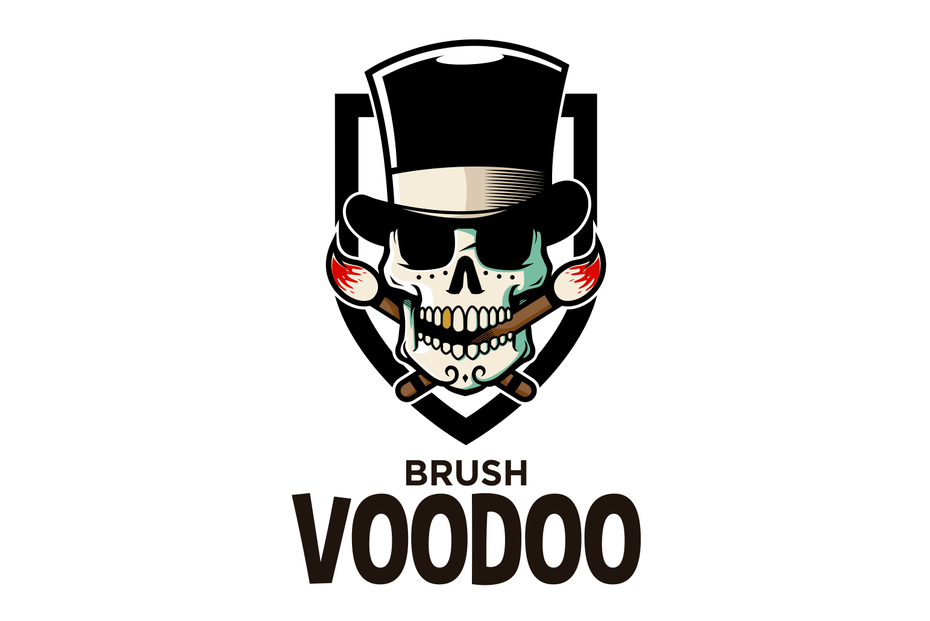 An iconic voodoo skull with a well-designed color palette