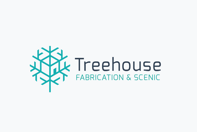 "line drawing of a snowflake with an image of a house worked into its middle and the text ""Treehouse Fabrication & Scenic"""