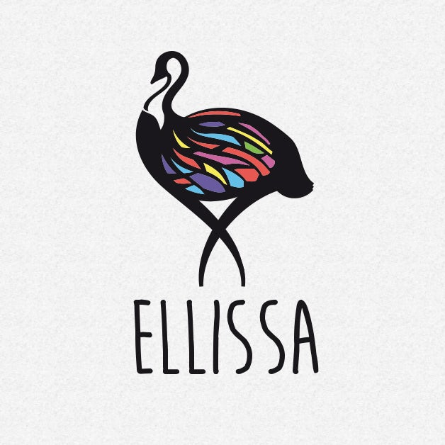 playful logo with swan illustration