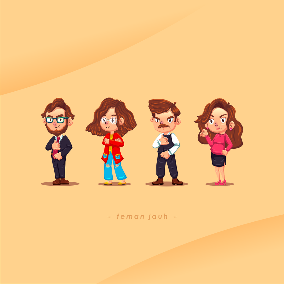 A set of four character avatars for a personality test