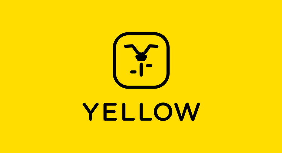 yellow icon with a minimalist black image of a bicycle