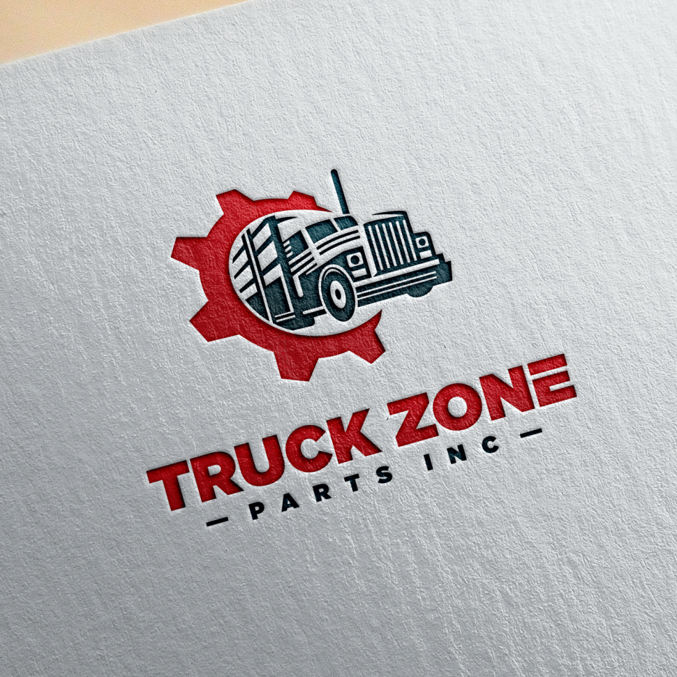 simple red truck logo design