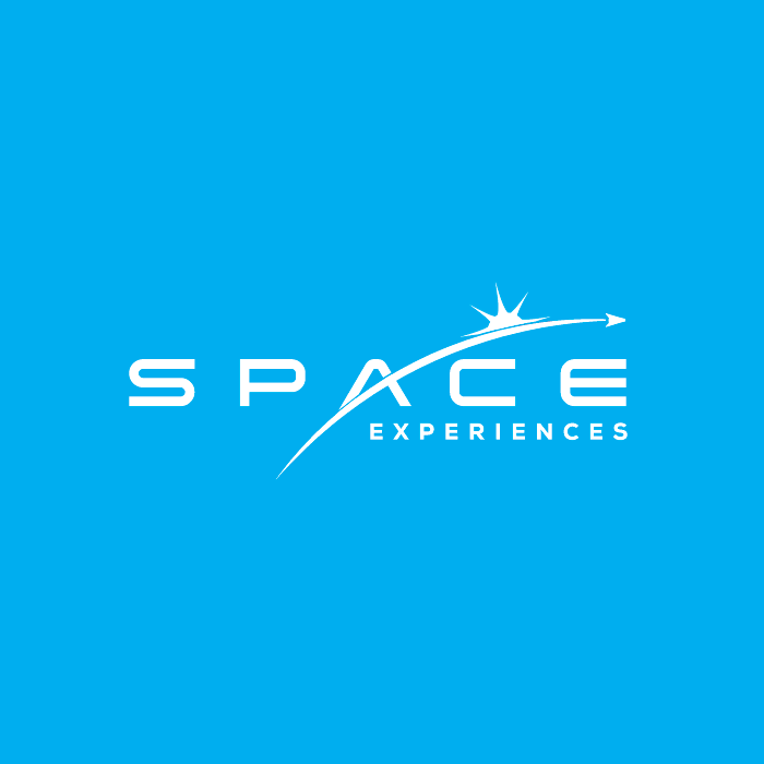 "the text ""space experiences"" with a curved line shooting across a sunburst"