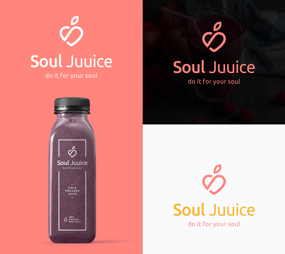 simple line art minimalist logo design for juice brand