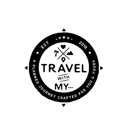 """round logo with the text """"travel with my…"""""""
