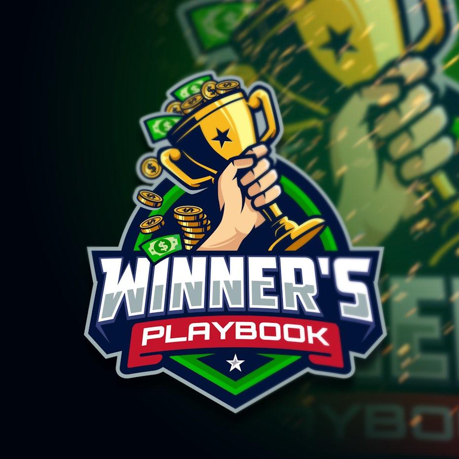 Ein illustriertes Sportstil-Logo, das eine Trophäe voller Geld zeigt