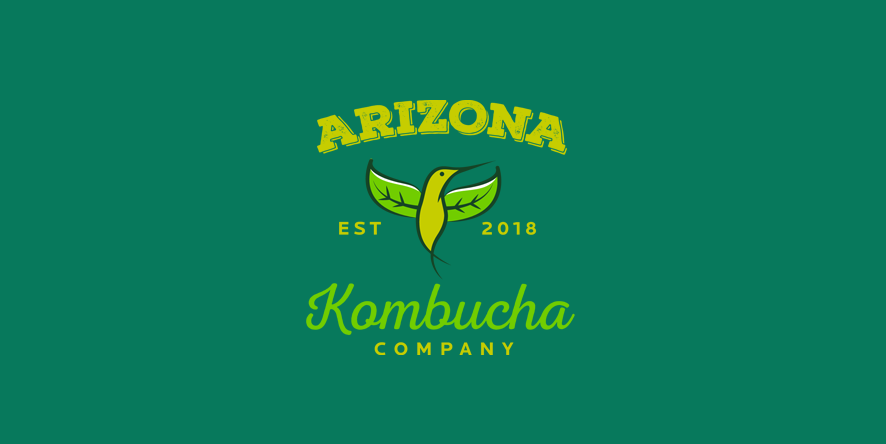 kombucha logo with green hummingbird