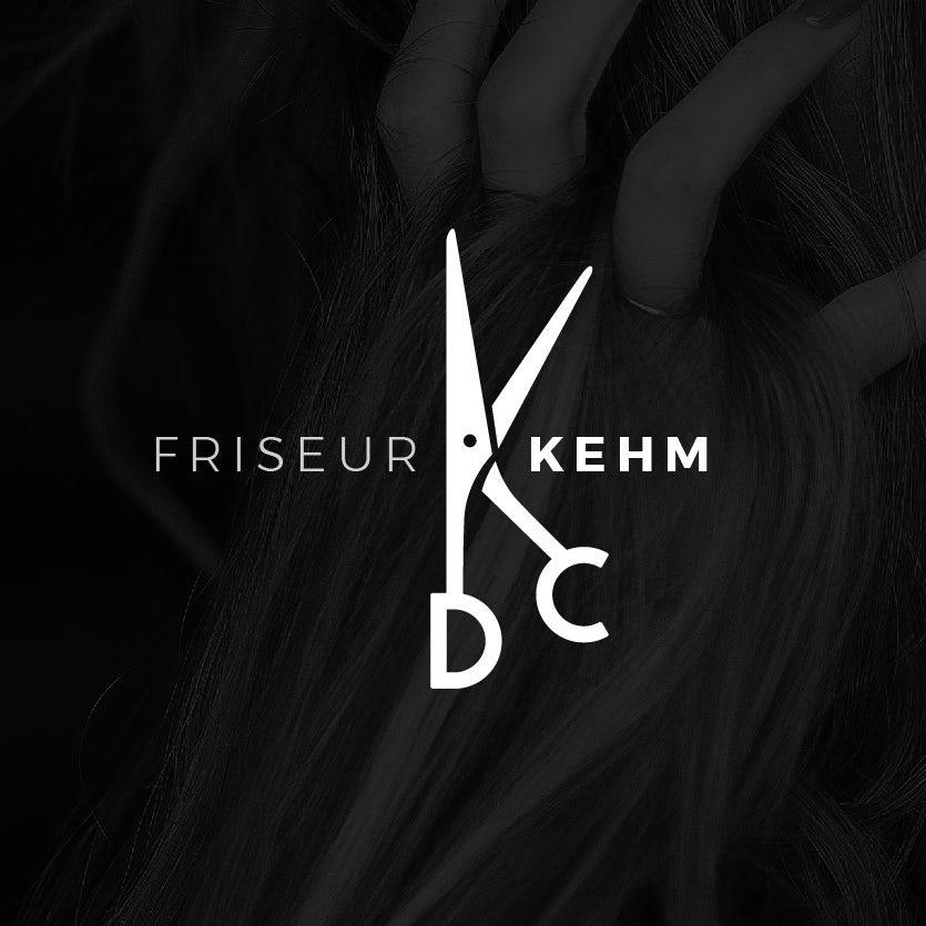 salon logo with scissors in shape of a K