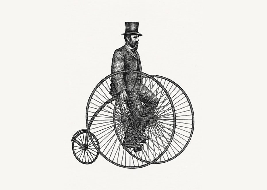 drawing of man on old bicycle