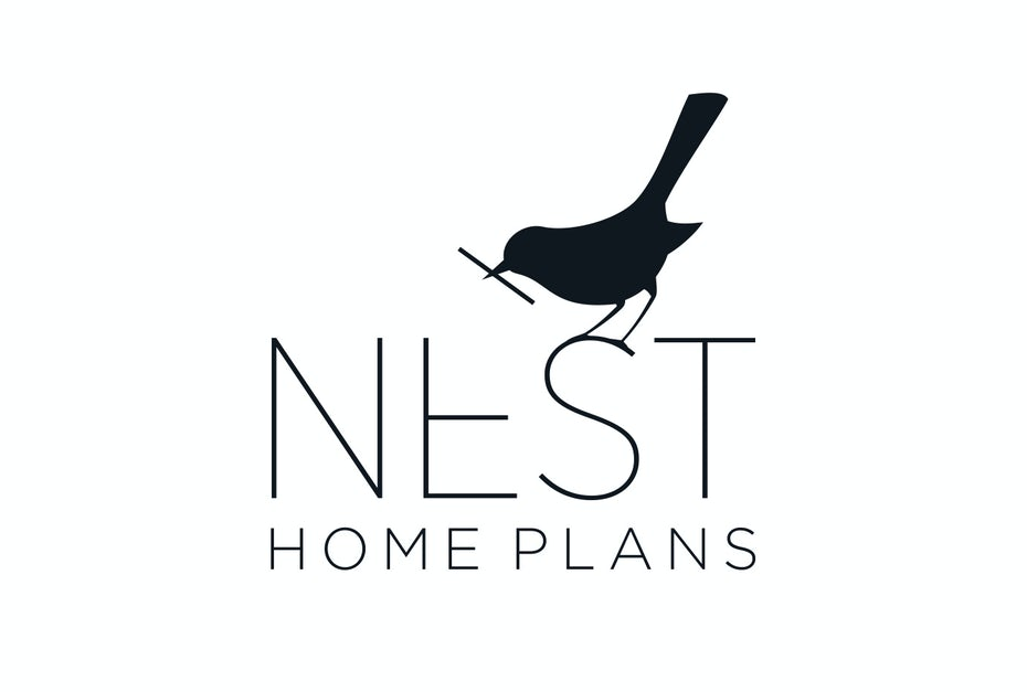 "black silhouette of a birth with a twig in its mouth and the text ""Nest Home Plans"""