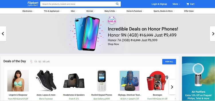 Flipkart ecommerce website